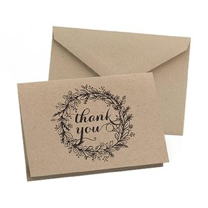 Brown Wedding Thank You Cards 50 Count Floral Wreath Design Rustic Theme