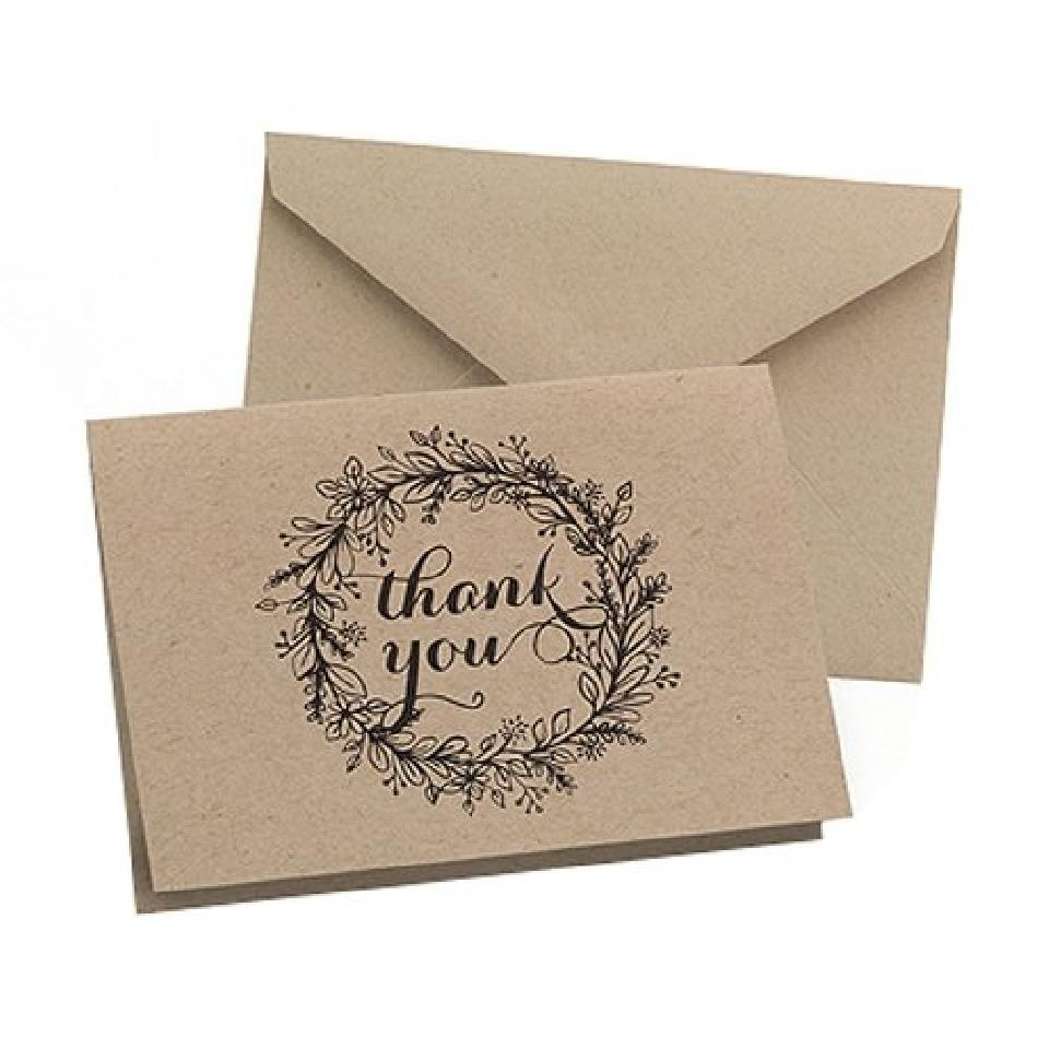 Brown Wedding Thank You Cards 50 Count Floral Wreath Design Rustic