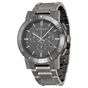 Burberry $1000 NWT MEN'S Chronograph Gray Ion Plated WATCH BU9381