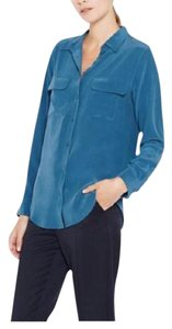 Equipment Silk Button Down Signature Top Majolica Blue