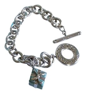 Tiffany & Co. Tiffany & Co. Silver Blue Enamel Gift Box Charm Bracelet 7
