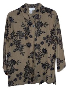 Coldwater Creek Button Down Shirt Black and Tan
