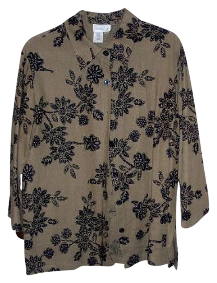 92b2d231 Coldwater Creek Black and Tan Sequins Floral Button-down Top Size 10 ...