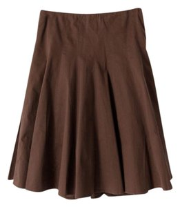 TSE Stretch Pleated A-line Flare Skirt Brown