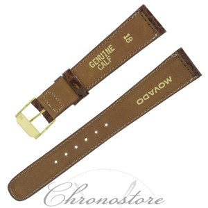 Movado Movado 18 - 13 mm Brown Leather Men's Watch Band (7444)