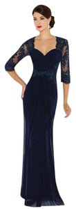 Cameron Blake Nvy Blue Stretch Mesh and Lace 116672 Formal Bridesmaid/Mob Dress Size 12 (L)