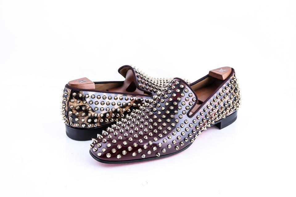 76c076a8e43b Christian Louboutin Brown   Dandelion Spikes Flat Patent Degrade Leo Gg  Patent Shoes