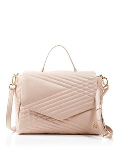 Tory Burch Crossbody Pink Satchel in Light Oak Quilted
