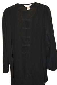 Casual Corner Silk Tunic Toggle Front Button Down Shirt Black