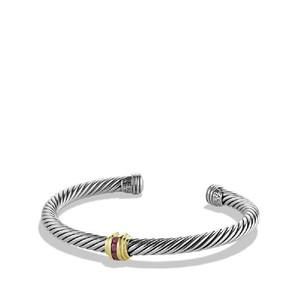 David Yurman Cable Classics Single-Station Bracelet with Rubies and 14K Gold, 5mm