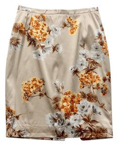 Dolce&Gabbana Silk Floral Pencil Fitted Skirt Beige