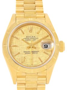 Rolex Rolex President Datejust Ladies Yellow Gold Linen Dial Watch 69278