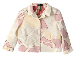 Piazza Sempione Cropped Embroidered Woven Geometric White Jacket