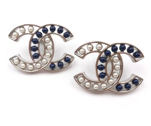 Chanel Chanel Brand New Silver CC Blue Stone Pearl Piercing Earrings