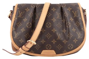 Louis Vuitton Satchel Canvas Brown Shoulder Bag