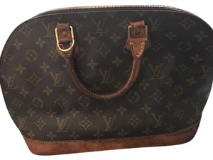 Louis Vuitton Satchel in Brown and Tan with Gold Fixtures