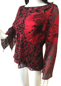 Papell Boutique Bell Sleeves Beaded Silk Abstract Design Top Black Red
