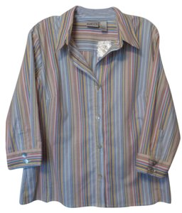 Chico's New Nwt Large Cotton Top Blue, white, yellow, red, purple +