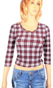 Forever 21 Plaid Flannel Crop Top Red & white