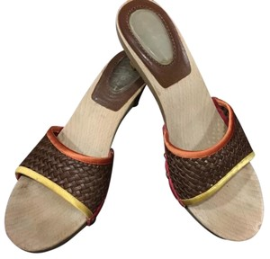 Casadei Brown, Red, Yellow and Orange Sandals