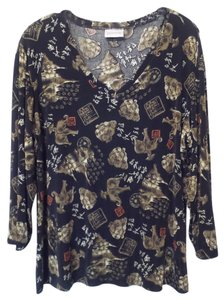 Chico's Travelers Asian Xl Knit Top Black, tan, red, off-white