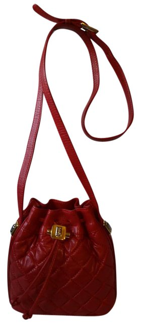 Item - Bucket Quilted Mini Red Leather Cross Body Bag