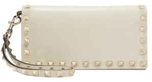 Valentino Rockstud Clutch Wallets Rockstud Wallet Wristlet in Cream