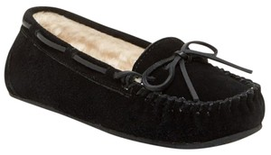 Minnetonka Moccassins Leather Suede Black Flats