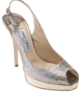 Jimmy Choo glitter silver and gold Platforms