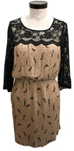 Black Rainn Rainn Lace Feather Polka Dot Dress