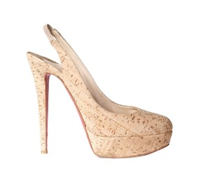 Christian Louboutin Louboutin Red Bottoms Cork Slingback Platform beige Pumps
