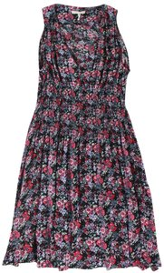Maje short dress Black / Fuschia / Green / Blue Floral Smocked Sleeveless on Tradesy