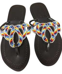 Hand made from Nairobi, Kenya Black leather/ Multi beaded Sandals