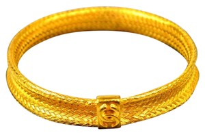 Chanel Rare Vintage Authentic Chanel CC Inter Woven Design Bangle Bracelet 24K(Gold plated)