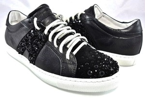 Alessandro Dell'Acqua Leather Suede Sparkle Crystal Logo Black Athletic