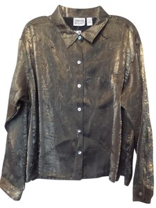 Chico's Xl New Oversized Nwt Gold Top Gold, black