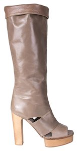Marni Knee High Platform Open Toe taupe Boots