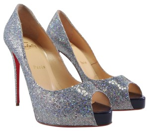 Christian Louboutin Very Prive Peep Toe Glitter Disco Silver Pumps