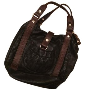 Lucky Brand Leather Cross Body Traveling Satchel in Black and Brown