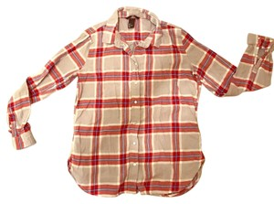 H&M Button Down Shirt red tan white blue