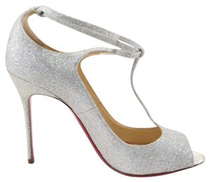 Christian Louboutin Talitha 100mm Glitter Bridal Silver Pumps