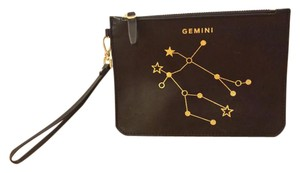 Etienne Aigner Leather Gemini Glitter Wristlet in Black & Gold