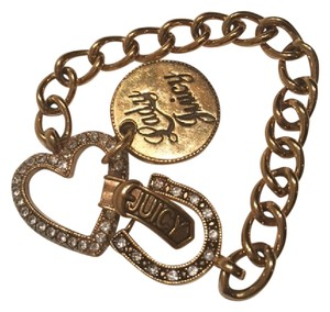 Juicy Couture Juicy Couture Gold Lady Juicy Charm Bracelet with rhinestones