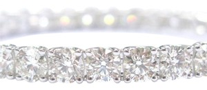 Other 18Kt Round Cut Diamond White Gold Tennis Bangle 32-Stones I-J/VS2-SI1