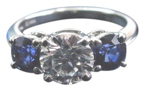 Tiffany & Co. Tiffany & Co Platinum Three Stone Diamond Sapphire Engagement Ring E-V
