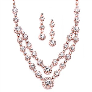 Elegance By Carbonneau Rose Gold Wedding And Prom Jewelry Set
