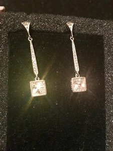 Saks Fifth Avenue Delicate Silver Crystal Chandelier Pendulum Princess Cut From Saks