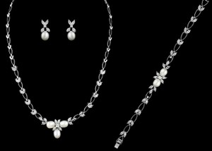 Dainty Pearl And Cz Wedding Necklace Earring And Bracelet Set