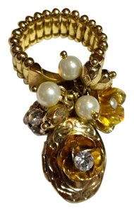 Other New Beaded Charm Ring One Size Stretch Adjustable W/ Locket J3193