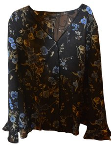 Venezia by Lane Bryant Ruffle Plus-size Navy Flowers Delicate Dart Button Down Shirt Navy/multi